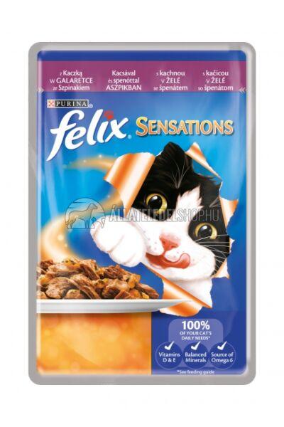 Felix macskaeledel - Sensation Kacsával és Spenóttal Aszpikban alutasakos macskáknak 100g