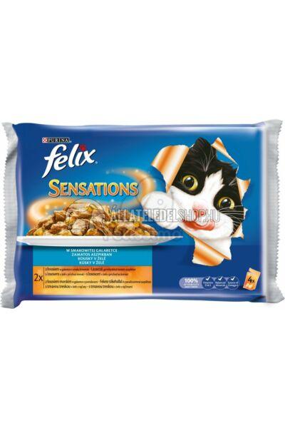 Felix macskaeledel - Sensations Sauce Surprise Multipack Lazaccal és Tőkehallal aszpikban alutasakos macskáknak 4X100g