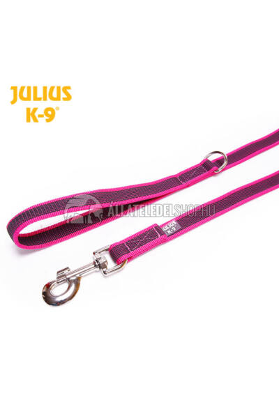 "Julius K-9  Color & gray - Gumis póráz - Pink-Gray - ""D"" karikával – 2 m / 20 mm"