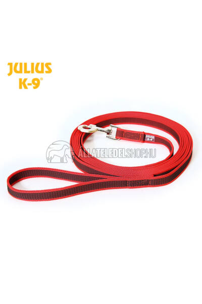 Julius K-9  Color & gray - Gumis póráz - Red-Gray – 3 m / 20 mm