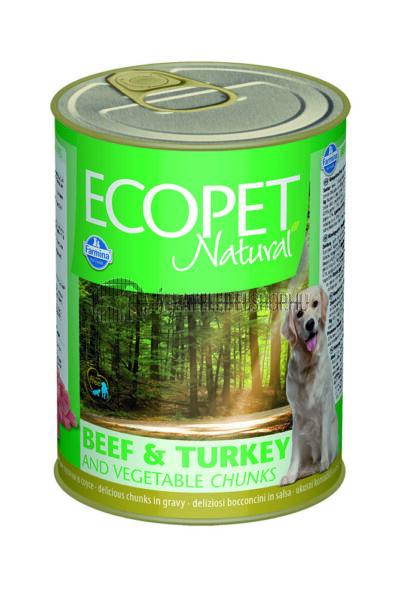 Ecopet Natural - Marhás & Csirkés kutyakonzerv 405g