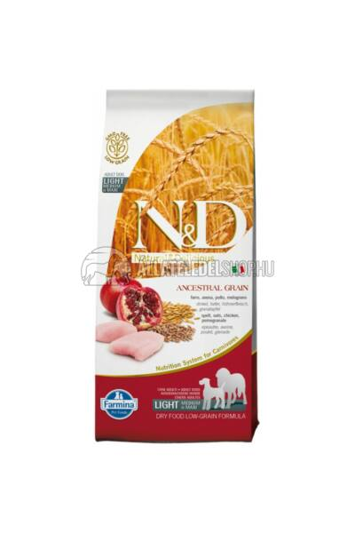 N&D - Light Adult Maxi Csirke & Gránátalma csökkentett gabonatartalmú kutyatáp 12Kg