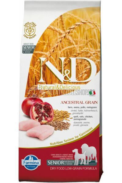 N&D - Senior Adult Maxi Csirke & Gránátalma csökkentett gabonatartalmú kutyatáp 12Kg