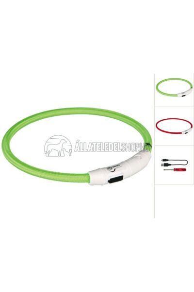 Trixie - Safer Life USB Flash Light Ring - Nyakkarika M-L 45cm / 7mm Zöld