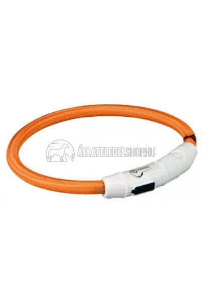 Trixie - Safer Life USB Flash Light Ring - Nyakkarika M-L 45cm/7mm Narancs