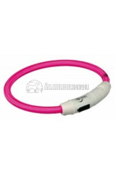 Trixie - Safer Life USB Flash Light Ring - Nyakkarika L-Xl 65cm / 7mm Pink