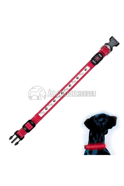 Trixie - Safer Life USB világító nyakörv Piros M-L 40-50cm / 25mm