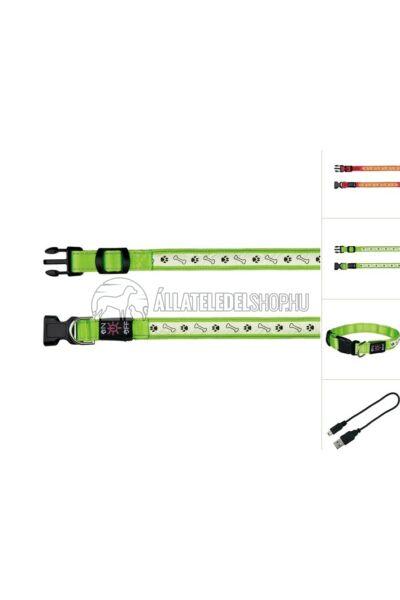 Trixie - Safer Life USB világító nyakörv  Zöld L-XL 50-60cm/25mm