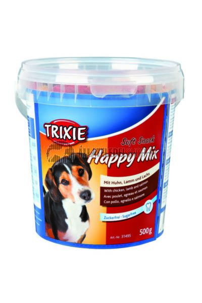 Trixie - Soft Snack Happy Mix Csirke-Bárány-Lazac Vödrös 500g